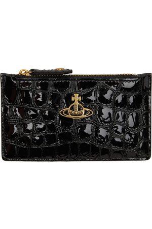 Vivienne Westwood Black Croc Archive Orb Slim Long Card Holder