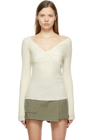 Helmut Lang Off-White Wool Off-The-Shoulder Sweater