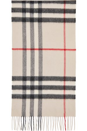 Burberry Off-White Cashmere Check Giant Scarf