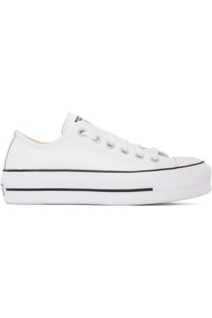 Converse White Leather Chuck Taylor All Star Platform Low Sneakers