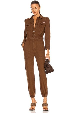 MOTHER The Puffy Wrapper Jumpsuit in Cognac