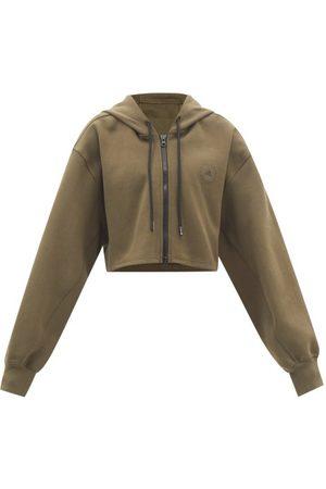 Adidas By Stella Mccartney Cropped Zipped Cotton-blend Hooded Sweatshirt - Womens - Khaki