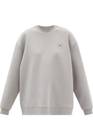 adidas Women Sweatshirts - Logo-print Organic Cotton-blend Jersey Sweatshirt - Womens - Grey