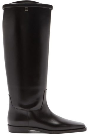 Totême Square-toe Leather Knee-high Boots - Womens