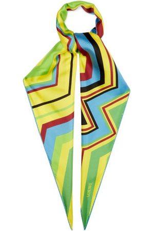 Loewe Zigzag Striped Silk Scarf - Womens - Multi