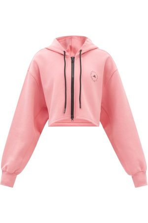 Adidas By Stella Mccartney Cropped Zipped Cotton-blend Hooded Sweatshirt - Womens - Light