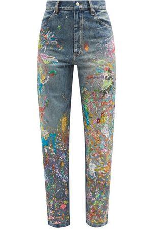 Ashish Sequinned Paint-splatter Straight-leg Jeans - Womens - Mid Denim