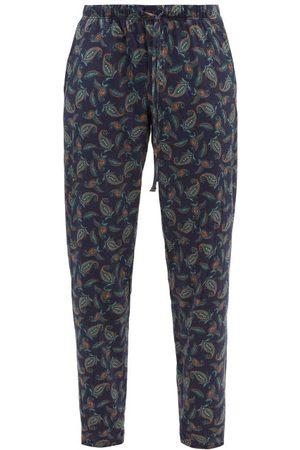 Hanro Men Pajamas - Paisley-print Cotton-jersey Pyjama Trousers - Mens - Navy Multi