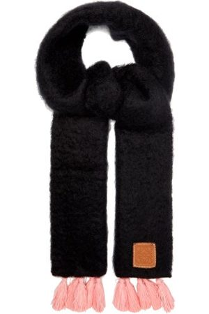 Loewe Tasselled Mohair And Wool-blend Scarf - Womens - Multi