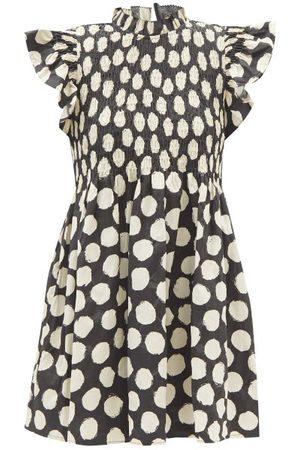 SEA Women Party Dresses - Arline Smocked Polka-dot Cotton-poplin Mini Dress - Womens - Multi