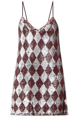 ASHISH Women Party Dresses - Sequinned Harlequin Georgette Mini Dress - Womens - Burgundy Multi