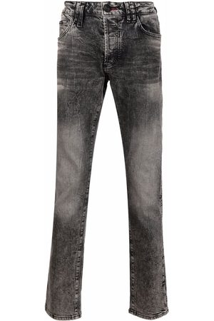 Philipp Plein Men Skinny - Skull-embroidered skinny jeans - Grey