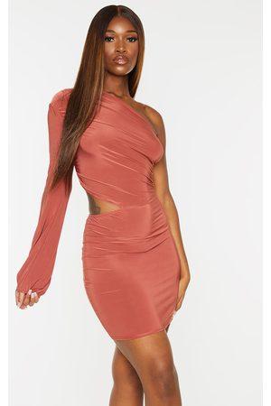 PRETTYLITTLETHING Women Bodycon Dresses - Rust Slinky One Shoulder Flare Sleeve Waist Cut Out Bodycon Dress