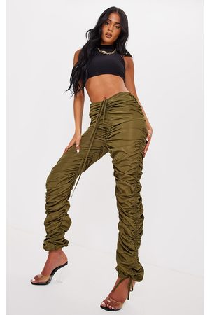 PRETTYLITTLETHING Tall Olive Ruched Tie Ankle Skinny Cargo Pants