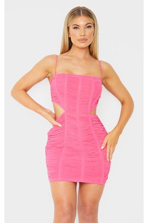 PRETTYLITTLETHING Bubblegum Strappy Mesh Ruched Corset Cut Out Bodycon Dress