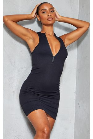 PRETTYLITTLETHING Structured Contour Racer Zip High Neck Bodycon Dress