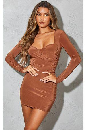 PRETTYLITTLETHING Chocolate Slinky Long Sleeve Draped Bodice Bodycon Dress