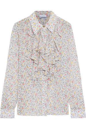 Ganni Woman Ruffled Floral-print Chiffon Shirt Size 34