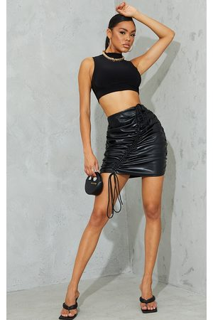 PrettyLittleThing Faux Leather Front Ruched Mini Skirt