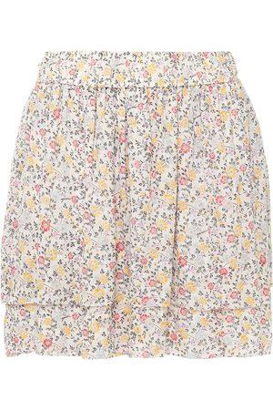 Ganni Women Printed Skirts - Woman Layered Floral-print Georgette Mini Skirt Ivory Size 34