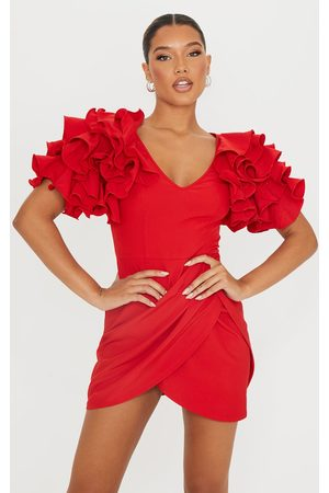 PrettyLittleThing Women Bodycon Dresses - Frill Sleeve V Neck Bodycon Dress