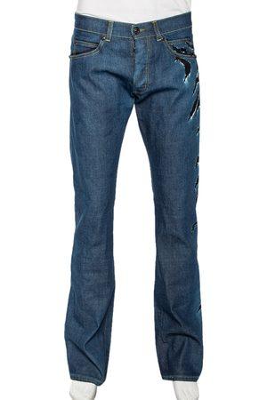 Roberto Cavalli Ink Denim Slash Print Straight Fit Jeans L