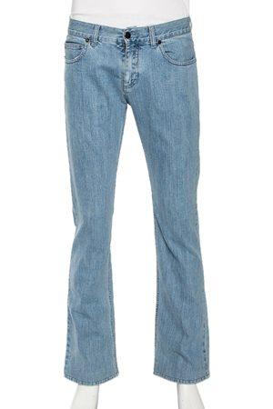 Roberto Cavalli Men Straight - Denim Leather Pocket Patch Straight Fit Jeans M