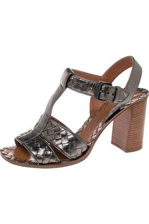 Bottega Veneta Metallic Intrecciato Leather Block Heel Sandals Size 38