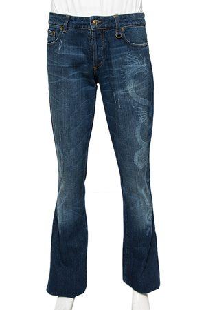 Roberto Cavalli Dragon Effect Denim Boot Cut Jeans S