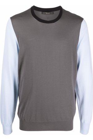 BILLIONAIRE Colour-blocked wool jumper - Grey