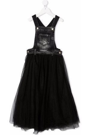 MONNALISA Girls Casual Dresses - Tulle-panel denim dungarees