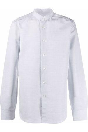 DELL'OGLIO Men Long sleeves - Long-sleeve collarless shirt - Grey