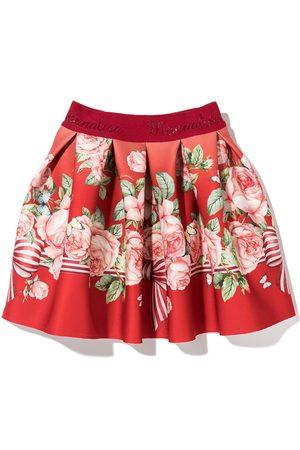 Monnalisa Girls Printed Skirts - Rose print pleated skirt