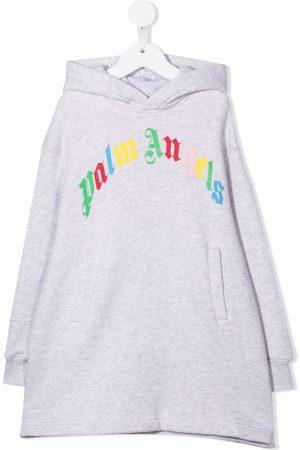 Palm Angels Kids Girls Printed Dresses - Logo-print hoodie dress - 0684 MEDIUM GREY