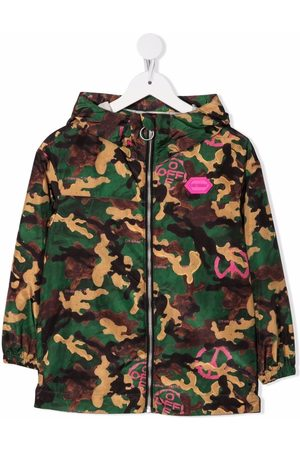 Off-White Kids Girls Rainwear - Camouflage-print windbreaker