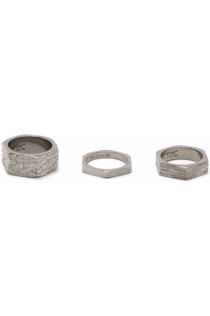 Off-White Textured hexnut rings