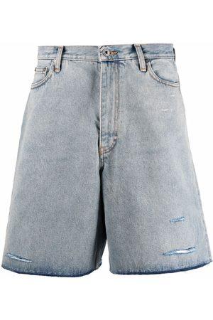 Off-White Cut Here bleached denim shorts