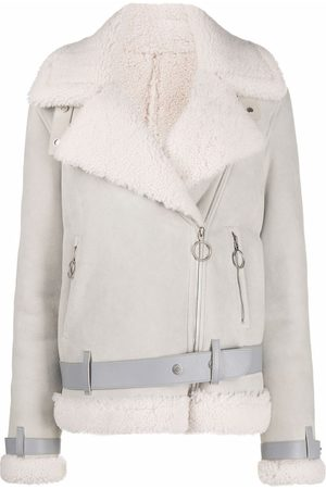 Off-White Wide-lapels shearling jacket - Neutrals
