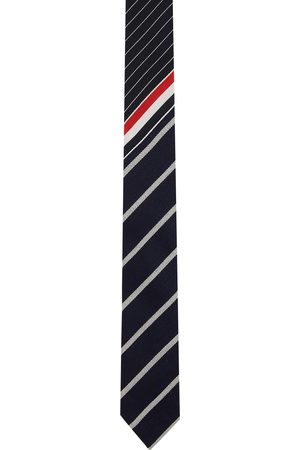 Thom Browne Men Neckties - Navy Funmix Striped Classic Tie