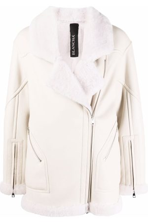 Blancha Panelled leather biker jacket