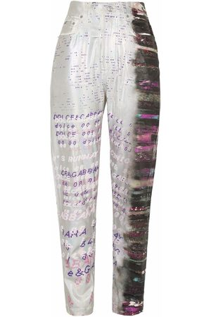 Dolce & Gabbana Holographic-effect tapered jeans