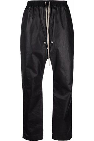 Rick Owens Men Sweatpants - Faux-leather drop-crotch track trousers