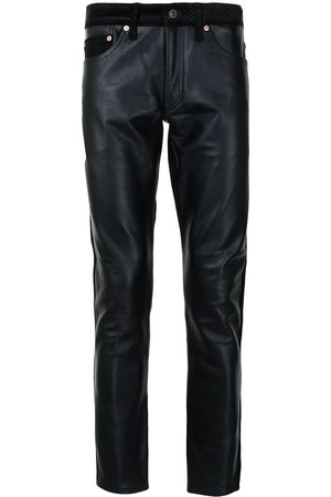 JUNYA WATANABE Men Leather Pants - Leather slim-cut trousers