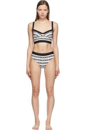 Balmain Women Bikinis - Black & White All-Over Logo Bikini