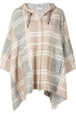 Brunello Cucinelli Women Ponchos & Capes - Batwing tartan cropped jacket