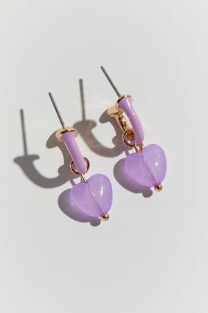 Urban Outfitters Elodie Heart Charm Enamel Hoop Earring