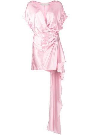 Michelle Mason Silk wrap train dress