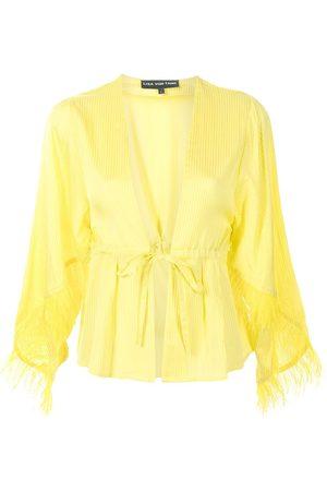 Lisa Von Tang Feather-detail robe