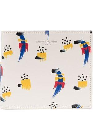 Saint Laurent Abstract-pattern leather wallet - Neutrals