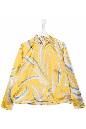 Emilio Pucci Girls Blouses - Abstract-print mock-neck blouse